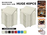 Ace Punch 40 Pack WHITE Pyramid Acoustic Foam Panel DIY Design Studio Soundproofing Wall Tiles Sound Insulation with Free Mounting Tabs 19.6'' x 19.6'' x 1.9'' AP1034