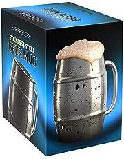 Innovee Beer Mug – Boccale in Acciaio Inox Premium/Tazza da caffè con Coperchio Bonus – 500ml a Doppia Parete Che Isola l'Aria – può Essere Congelato - Usalo per la Birra, Le Bibite Calde e Altro