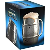Nuvantee Beer Mug – Premium Stainless Steel Mug / Coffee Cup With Bonus Lid – 16.9 OZ Double Wall Air Insulated - Better Then Glass Mugs - Perfect Gift For Men