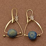 Creative Women Triangle Natural Blue Stone Stud Pendant Earring Jewelry 1 Pair