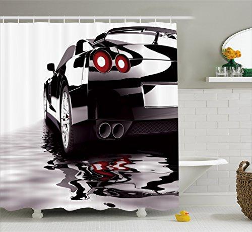 Ambesonne Cars Shower Curtain, Modern Black Car with Water Reflection Prestige Fast Engine Performance Lifestyle, Fabric Bathroom Decor Set with Hooks, 70 Inches, Black Red White