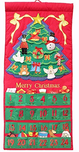Pockets of Learning Merry Christmas Tree Advent Calendar, Holiday Décor, Seasonal Fabric Wall Hanging, Cloth Countdown ()