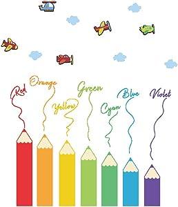 VOSAREA Cartoon Color Pencil Wall Sticker Kindergarten Children Room Decoration Stickers