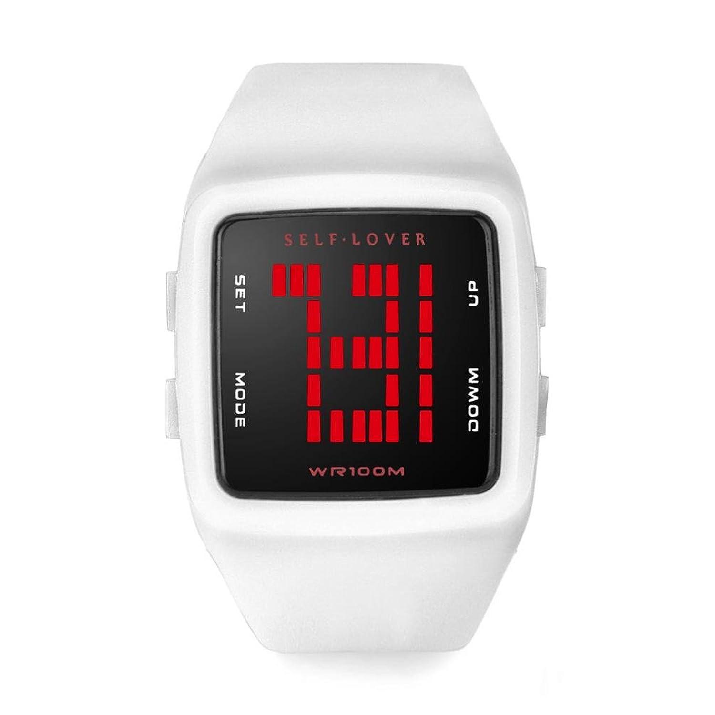 レディース防水時計、Sinma LEDデジタルスポーツ腕時計女の子シリコンスクエア腕時計 B0719BFC5F ブラック