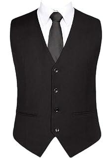 Lutratocro Mens Classic One Button Vest V-Neck Business Suit Vest