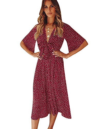 (SOLERSUN Women's V Neck Polka Dot Loose Swing Casual Summer Tie Front Midi Dress Wine red)