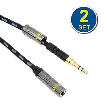 iKross 2 x 3.5mm Extensión Cables de Audio Estéreo con Cordón Trenzado de 3 metros