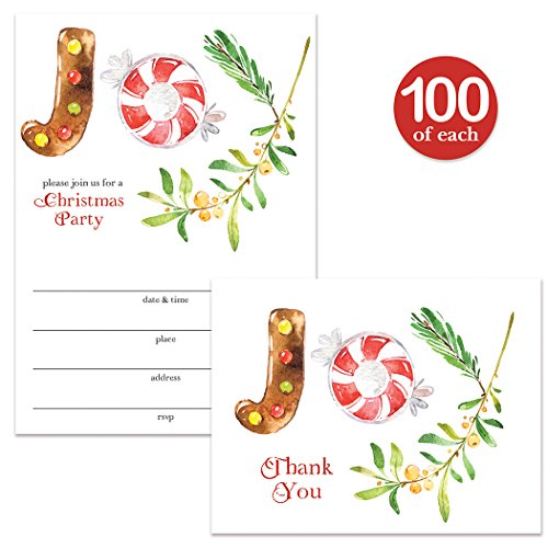 Christmas Party Invites ( 100 ) & Matching Thank You Cards ( 100 ) Set with Envelopes Great for Large Gathering Holiday Celebration Cookies & Mistletoe Fill-in Invites & Thank You Notes Best Value Buy by Digibuddha