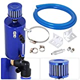 #1: AJP Distributors Universal 300ml Oil Catch Can Tank Reservoir Cylinder Breather Filter Hose Kit Blue High Capacity 300ml