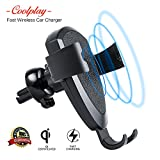 Fast Wireless Car-Charger Vent-Mount – for Android-iPhone-Samsung Models Galaxy S8, S8 Plus, S7, S7 Edge, S6, S6 Edge, Note 8/5, iPhone X, 8, 8 Plus, Qi Car Wireless-Charger Air Vent Gravity Holder