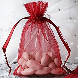 BalsaCircle 50 pcs 4x6-Inch Burgundy Organza Drawstring Bags - Wedding Party Favors Jewelry Pouch Candy Gift Bags