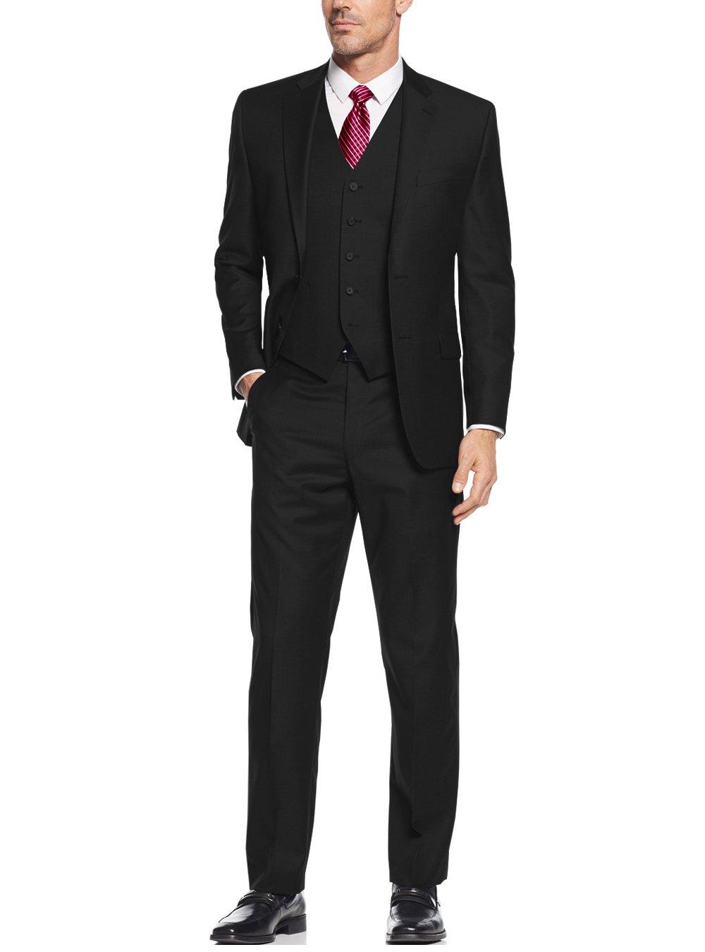 Salvatore Exte Men's Suit 3-Piece Two Button Blazer Jacket Flat Front Pants (48 Regular US / 58R EU / W 42'', Black)