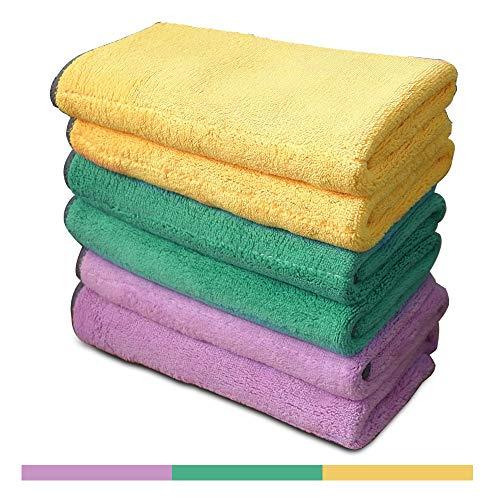 6 paños de limpieza de microfibra extra gruesos con 3 colores brillantes, paños para polvo súper absorbentes Paños para pulir con dos colores en dos lados, para cocina, automóvil