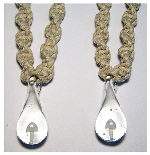 Novelties Company White Color Glass Mushroom Pendant on Twisted Hemp 18 Inch Necklace