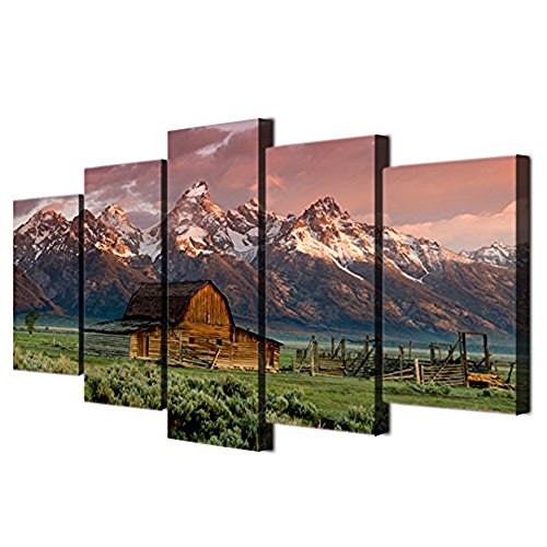 Teton Painting Barn Pictures Art Work for Home Walls Grand Teton,Wyoming Canvas 5 Piece Artwork Modern Home Decor for Living Room Framed Gallery-wrapped Ready to Hang Posters and - Art Print Moulton Poster