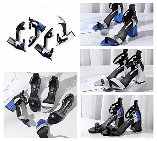 mode sexy 2018 talons chaussures Argent chaussures décontractées hauts toe nouvelles Color chaussures des argent la Taille blanc de femmes noir confortables peep Argent femmes 34 à sandales 8xqI8ErU