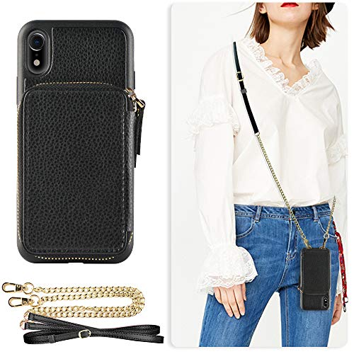 - ZVE Case for Apple iPhone XR, 6.1 inch, Wallet Case with Crossbody Chain Credit Card Holder Slot Handbag Purse Wrist Zipper Strap Case Cover for Apple iPhone XR 6.1 inch - Black
