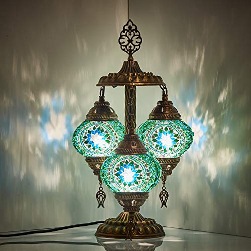 DEMMEX 2019 Stunning 3 Globe Turkish Moroccan Bohemian Table Desk Bedside Night Lamp Light Lampshade with North American Plug & Socket, 19 Inches (Hot) (Table Bases Unusual)