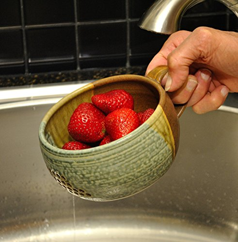 GW Pottery Handmade Stoneware Berry Bowl/Colander, Blue-White by Geoff Walsh Pottery (Image #2)