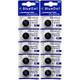 BlueDot Lithium Watch Batteries, 3 Volts, 10 CR1632 batteries
