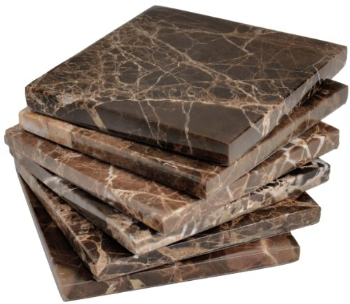 Set of 6 - Brown Marble Stone Coasters – Polished Coasters – 3.5 x 3.5 Inches ( 9x9 cm) Square – Protection from Drink Rings -CraftsOfEgypt