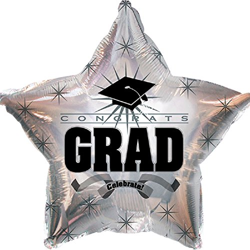 Platinum Balloon - Star Shape Graduation Balloons School Colors - 5 Count (Platinum)