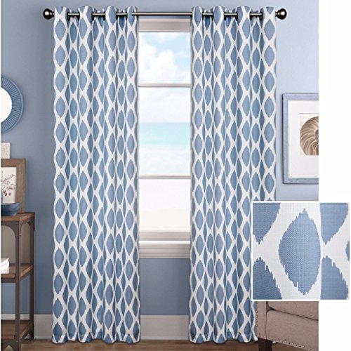 Better Homes & Gardens Ikat Diamonds Grommet Curtain Panel, French Blue, 52 x 63 from Better Homes & Gardens
