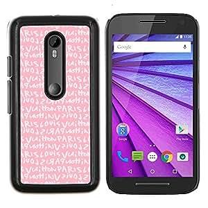 Chicas texto rosado París amor romántico- Metal de aluminio y de plástico duro Caja del teléfono - Negro - Motorola Moto G (3rd gen) / G3