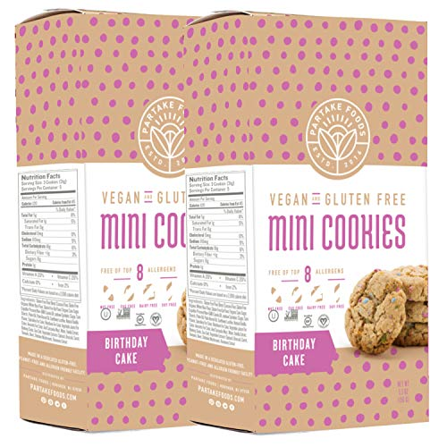Partake Foods Crunchy Mini Cookies, Birthday Cake, Vegan, Nut Free, Gluten Free Snack, Free of Top 8 Allergens, Lower in Sugar, High in Nutrition, Safe for the School Yard (2 Boxes)