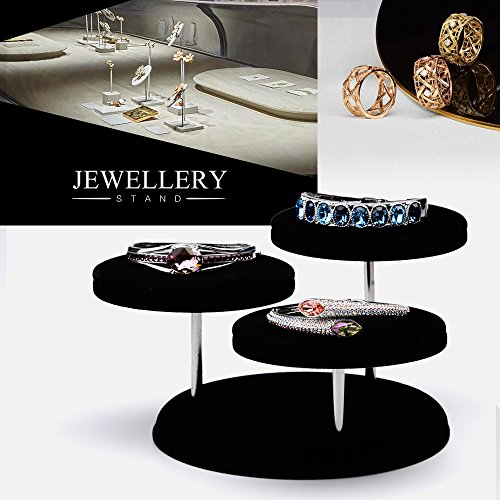 Oirlv Velvet Jewelry Towers Display Stand Organizer Rack For Bracelet,Bangle,Watch,Rings Earrings,Jewellery Holder (3 Tier,Black) by Oirlv (Image #1)