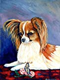 Caroline's Treasures 7038CHF Sable Papillon with a Butterfly and Rose Flag Canvas, Large, Multicolor