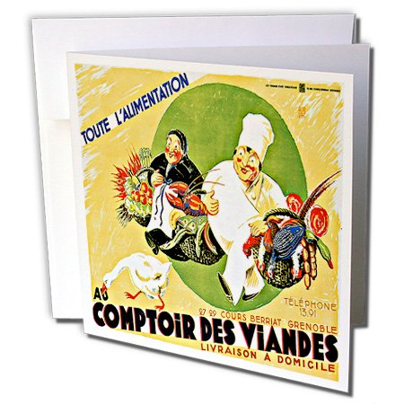 BLN Vintage Food and Drink Labels and Posters - Vintage Toute L Alimentation Livraison a Domicile Advertising Poster - 12 Greeting Cards with envelopes (gc_149316_2)