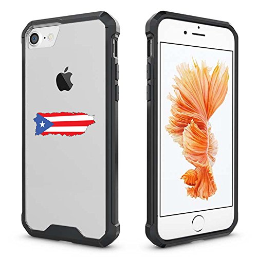For Apple iPhone Clear Shockproof Bumper Case Hard Cover Puerto Rico Puerto Rican Flag (Black For iPhone 8 Plus)