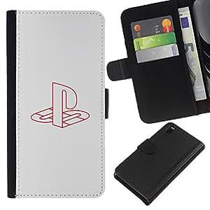 """A-type (Estación de juegos"""") Colorida Impresión Funda Cuero Monedero Caja Bolsa Cubierta Caja Piel Card Slots Para Sony Xperia Z3 D6603"""