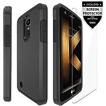 LG K20 Plus Case / LG K20 V Case / LG K20 Case / LG Harmony Case / LG Grace Case With Screen Protector,IDEA LINE(TM) Hybrid Hard Shockproof Slim Fit Cover - Black