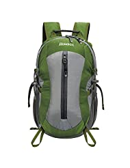 Homdox 25L Unisex Outdoor Sports Backpack with Lifesaving Whistle and Waterproof Covers, Perfect for Hiking Climbing Camping Travelling (Deep Green)