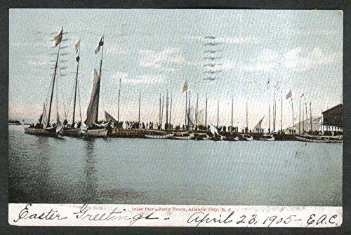 Inlet Pier & Party Boats Atlantic City NJ undivided back postcard -