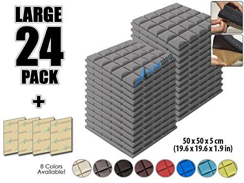 Arrowzoom New 24 Pack Of 19 6  X 19 6  X 1 9  Inches Soundproofing Insulation Mushroom Hemisphere Grid Self Adhesive Acoustic Foam Wall Padding Studio Foam Tiles Az1056  Gray