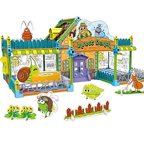 3D Dollhouse Puzzle DIY Safe Assembly Contructor Kit Coloring Card Toy Insect Ranch Models for Kids(163pcs) (Insect Playing Cards)