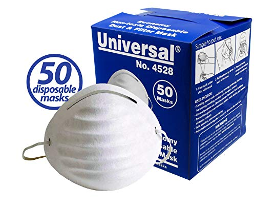 Universal 4528 Disposable Economy Dust & Filter Safety Masks - for Non-Toxic Dust, Pollen, Dander, Sawdust, Garage Dust, Garden and General Household Dust & Irritants (50ct Box)