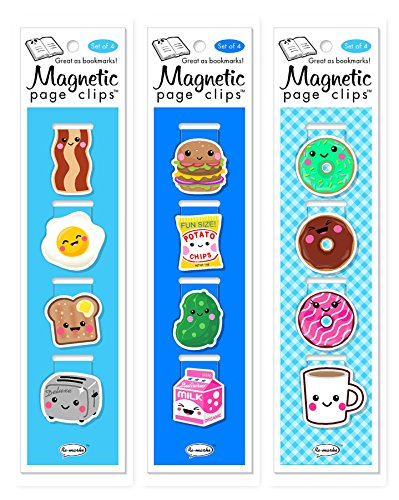Re-marks Breakfast, Lunch, and Donuts Magnetic Page Clip - 3 Pack - Clips Mark