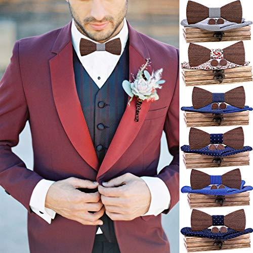 YSFWL - Pajarita para hombre, color negro, línea de nogal, corbata ...