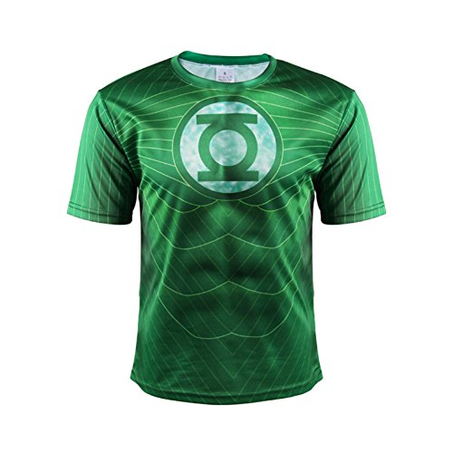 Men's Green Lantern Running Shirt,Cool Costume Shirt Short Sleeve XL -