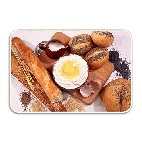 RianGo Flour Eggs Bread Loaf Baguette Poppy Front Door Mat Large Outdoor Indoor Entrance Doormat Low Profile Door mats Stylish Garage Patio Snow Scraper Front Doormats