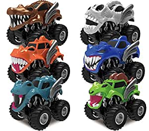 Joyin Toy 6 Pack Monster Friction Powered Truck Vehicles Big Tire Wheel Car Playset