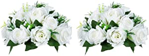 Nuptio Pcs of 2 Fake Flower Ball Arrangement Bouquet,15 Heads Plastic Roses with Base, Suitable for Our Store's Wedding Centerpiece Flower Rack for Parties Valentine's Day Home Décor (Pure White)