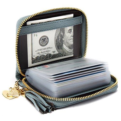 JOSEKO Damen echtes Leder Geldbörse Kreditkartenhalter RFID Schutz, 20/40/60 Kartenfächer Kreditkartenetui Reißverschluss Geldtasche Geldbeutel Kreditkartentasche Blau (40 Kartensteckplätze) Blau (20 Kartensteckplätze)