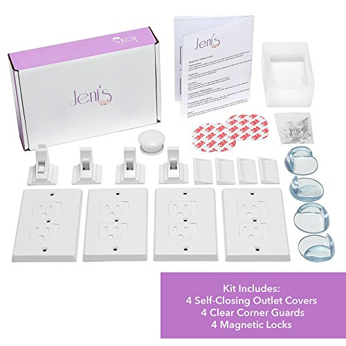 Child Safety Kit - Outlet Covers, Corner Bumper Guards & Cabinet Door Locks, 4 Each from Jeni's