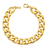 Men Heavy Chunky Curb Chain Bracelet 11MM Thick Solid Cuban Link Bracelets (8.3 inch)