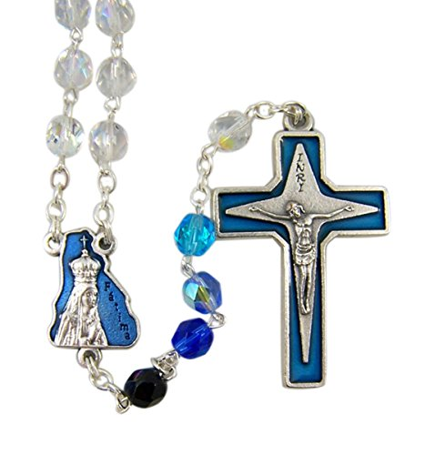 Blue Glass Our Lady of Fatima Rosary with Enameled Our Father Prayer Beads, 16 Inch